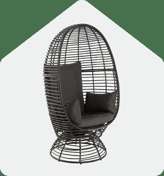 Brown Foster Wicker Swivel Egg Chair
