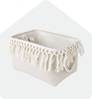 small Ivory Tote basket with fringe