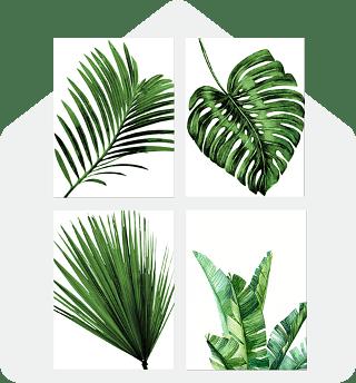 Palm Leaves 4pc Wall Art