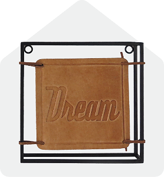 Dream leather sign on a metal frame