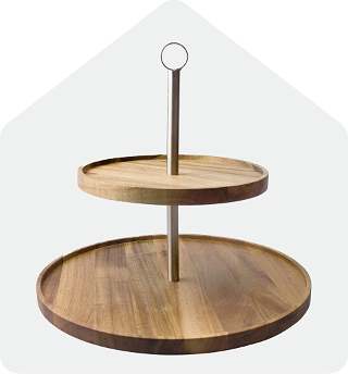 Acacia two tier platter