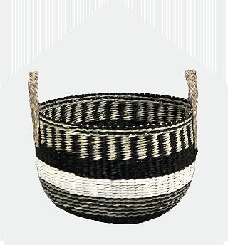 Black striped large seagrass basket