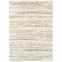 (C99) Shag Multi Color Abstract Design Ivory Area Rug, 5x7