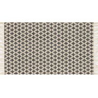 Brooklyn Black & Ivory Cotton Blend Accent Rug With Fringe, 2x4