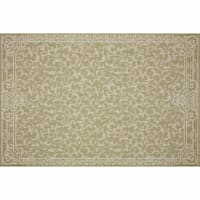 (E300) Oasis Floral Green & Ivory Area Rug, 8x10