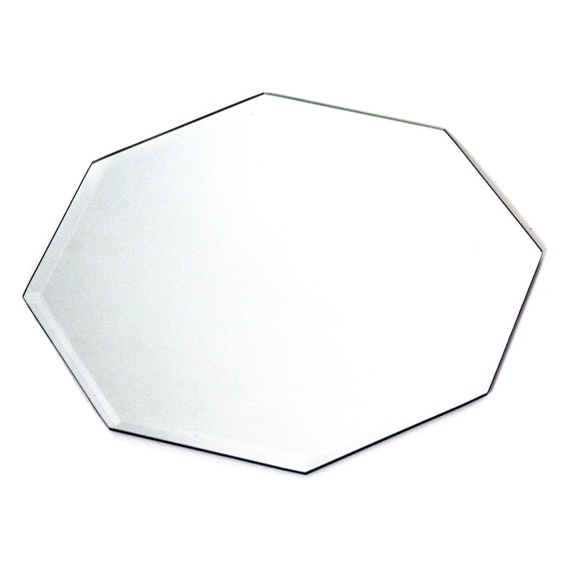 10in. Glass Octagon Beveled Edge Mirror Candle Plate