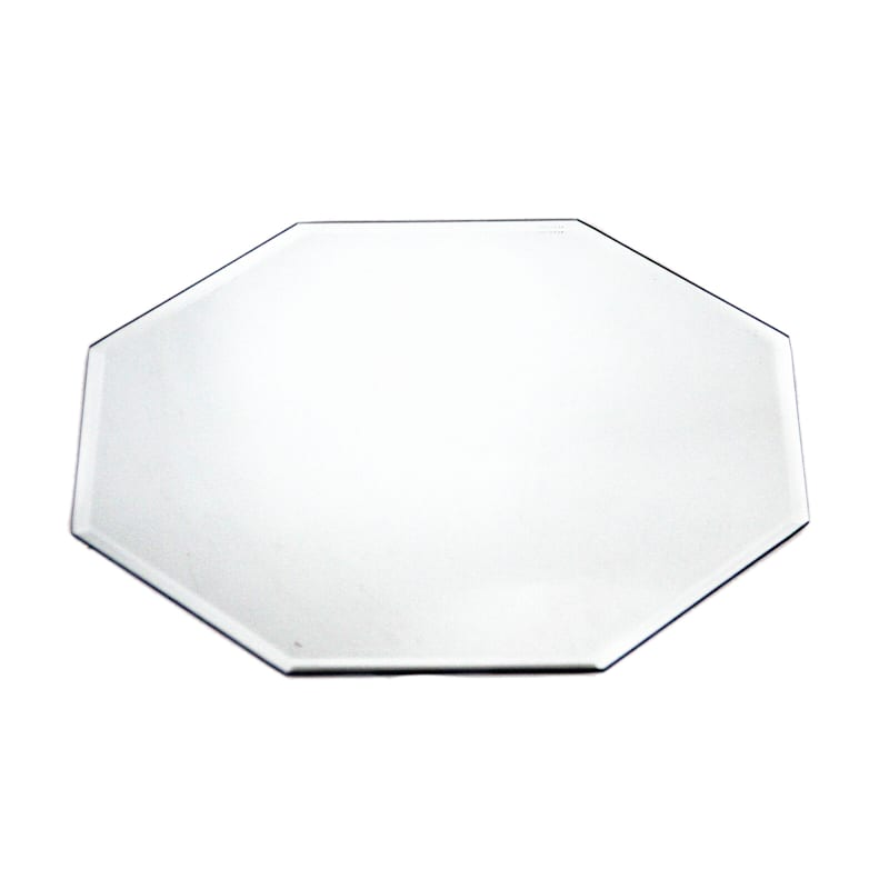 14in. Glass Octagon Beveled Edge Mirror Candle Plate