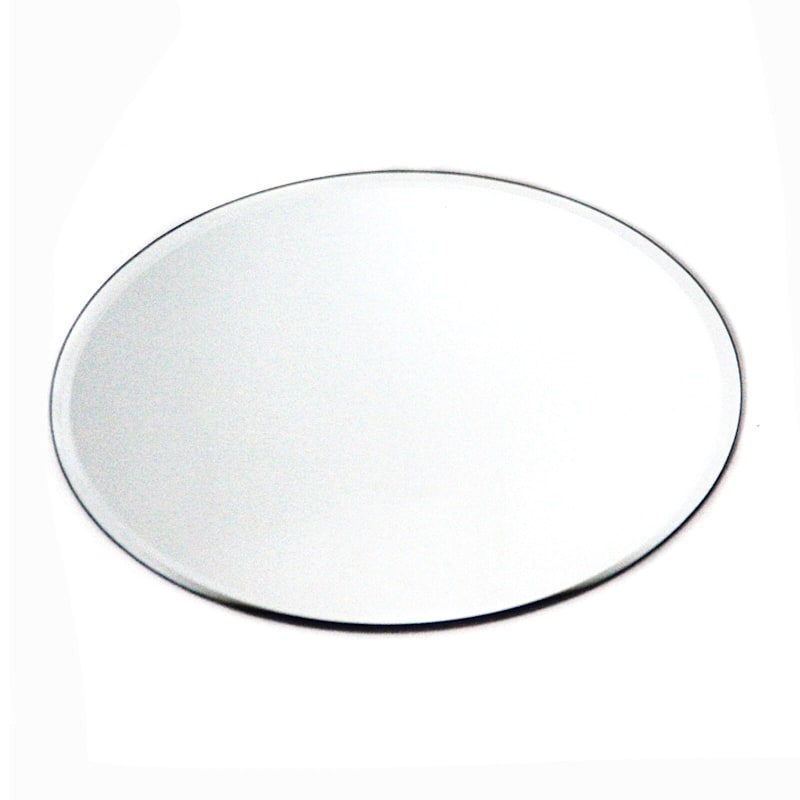 12in. Glass Round Beveled Edge Mirror Candle Plate
