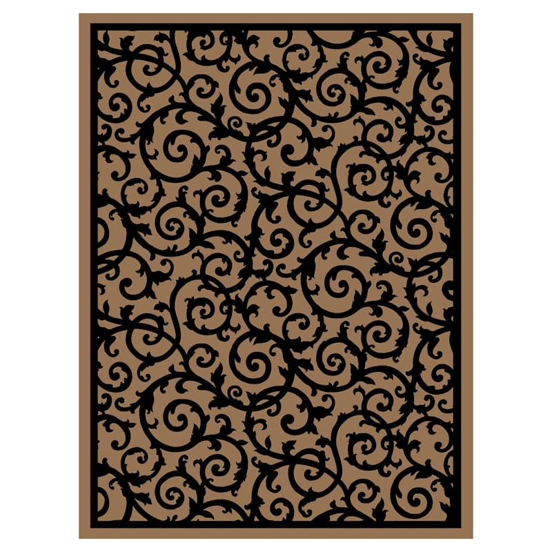 E41 Taupe and Black Rug- 8x10 ft