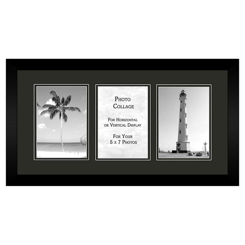 3-Opening 5X7 Black Mat Collage Photo Frame