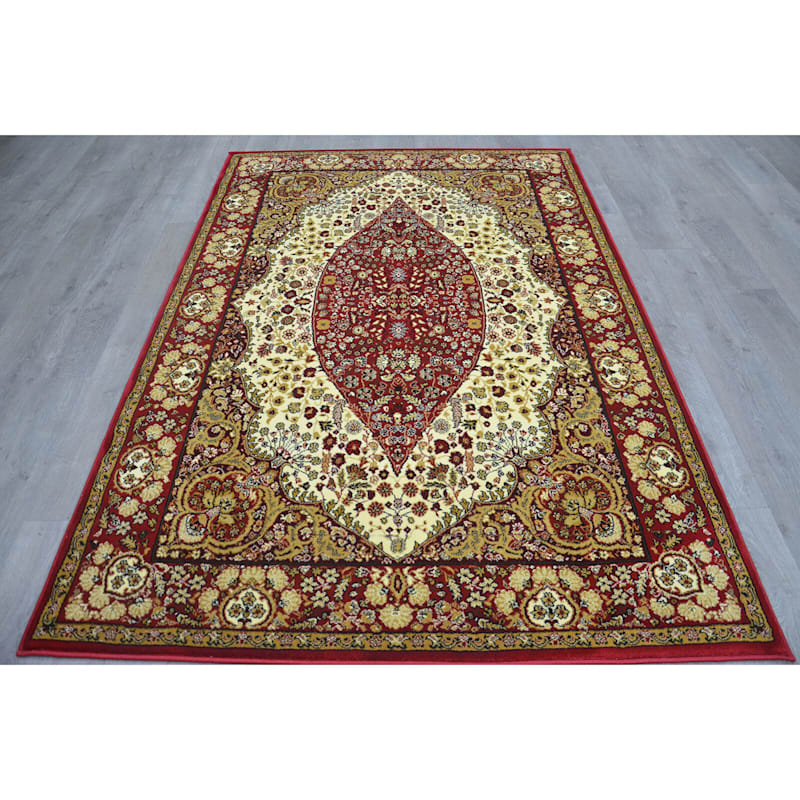 B33 Ivory and Red Traditional Rug- 5x7 ft