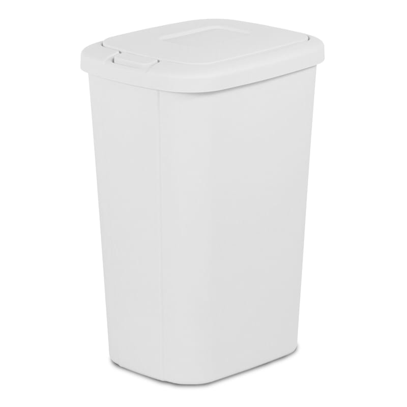 Hefty 13.3 Gal Touch Lid Trash Can White