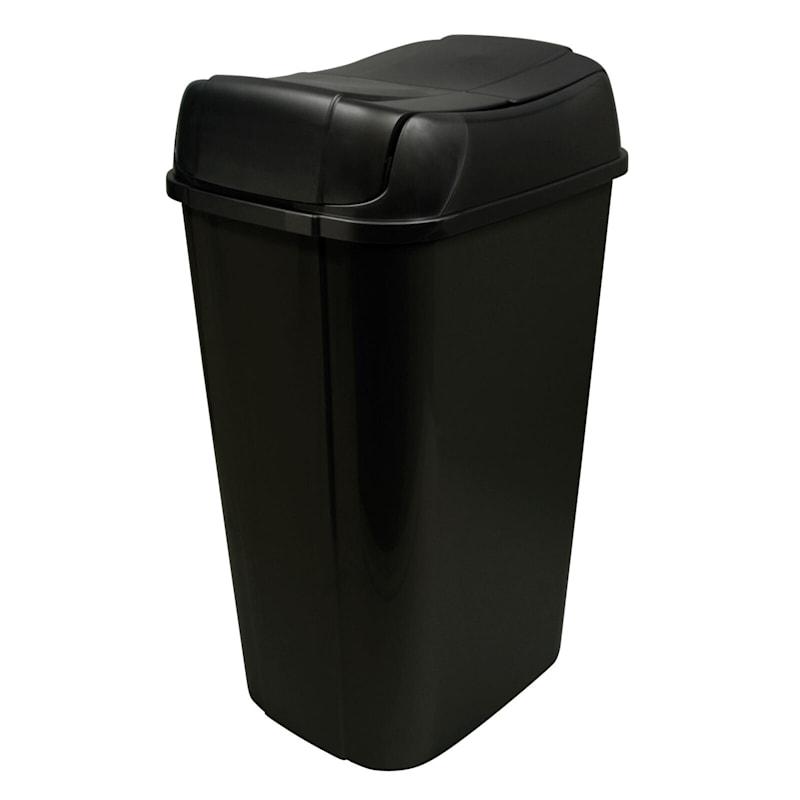 Hefty 13.3 Gal Pivot Lid Trash Can Black