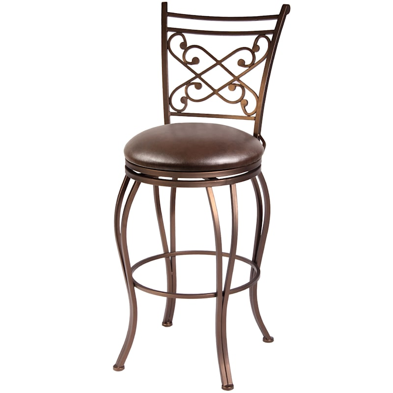 Rome Brown Metal Swivel Barstool with Upholstered Seat, 30""