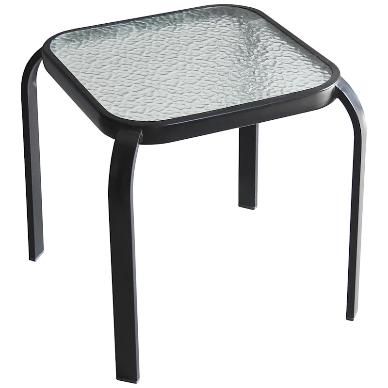 Black Steel Outdoor End Table with Tempered Glass Top, 16""