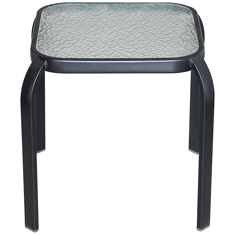 Black Steel Square Outdoor End Table With Tempered Glass Top, 16""