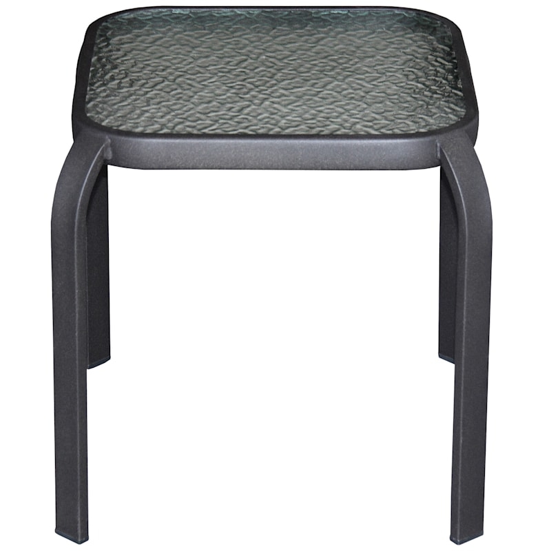 """Brown Steel Outdoor End Table with Tempered Glass Top, 16"""""""