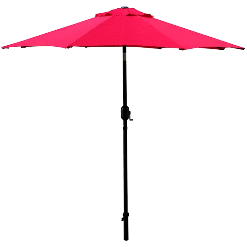 Steel Red Round Crank And Tilt Outdoor Umbrella, 7.5'
