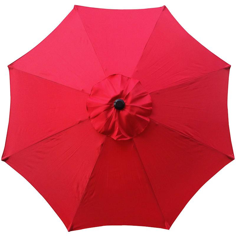 Steel Red Round Crank And Tilt Outdoor Umbrella, 7.5'