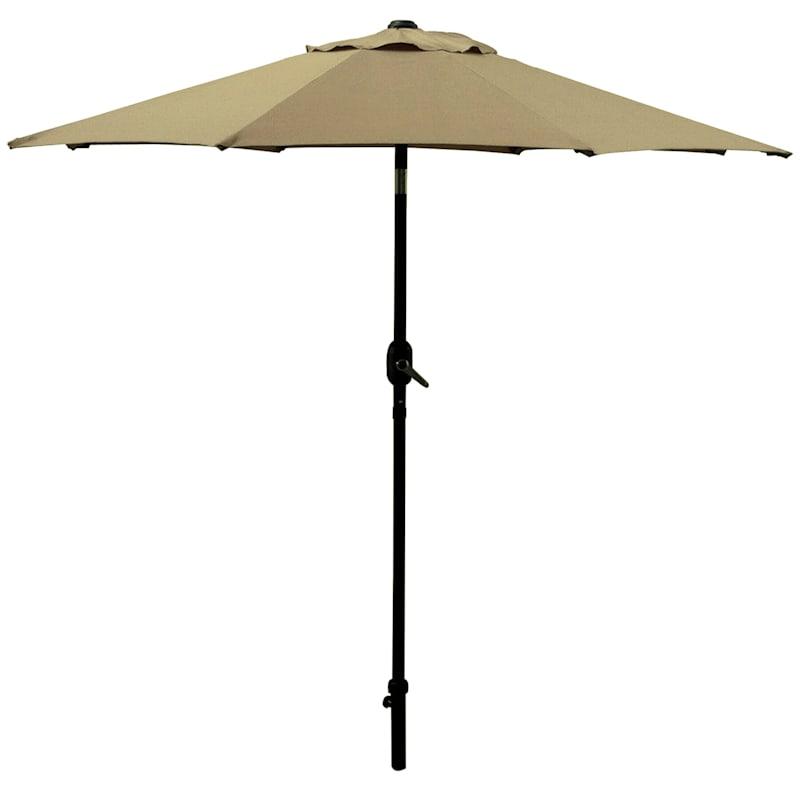 Steel Tan Round Crank And Tilt Outdoor Umbrella, 7.5'