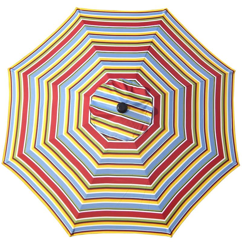 Steel Bright Stripe Round Crank And Tilt Outdoor Umbrella, 7.5'