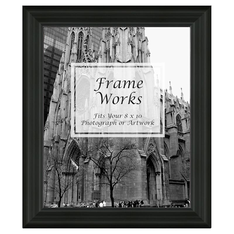 8X10 Wide Black Ridged Wall Photo Frame
