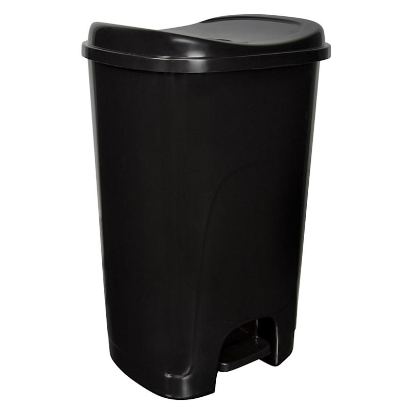 Hefty 13 Gal Step On Trash Can Black