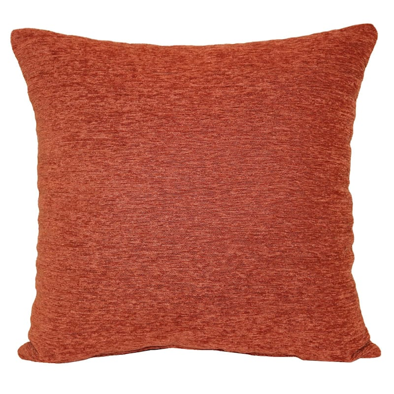 Crown Rust Chenille Pillow 17X17