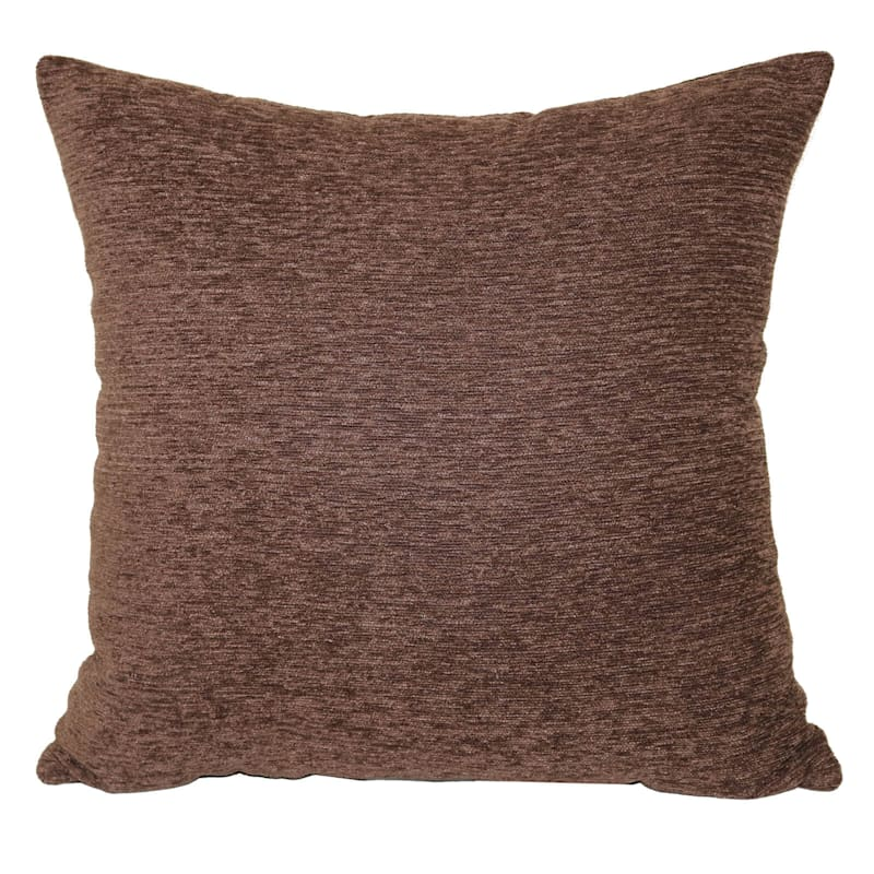 Crown Chocolate Chenille Pillow 17X17