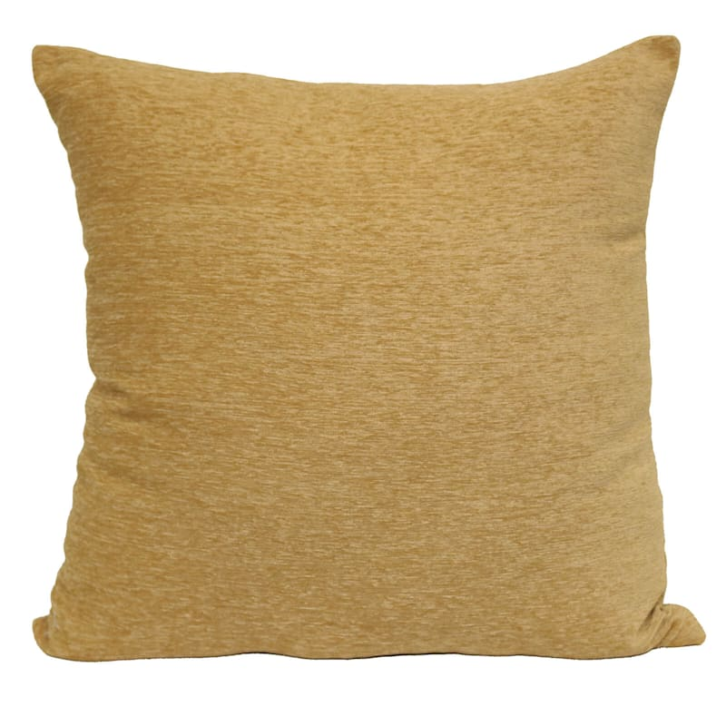 """Gold Chenille Throw Pillow, 17"""" square"""