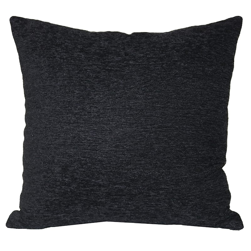 Crown Black Chenille Oversized Pillow 24X24
