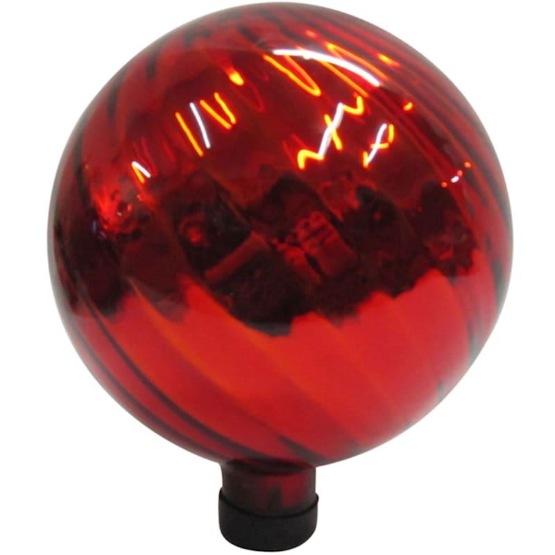 10in. Glass Gazing Ball Red Chrome Swirl Pattern