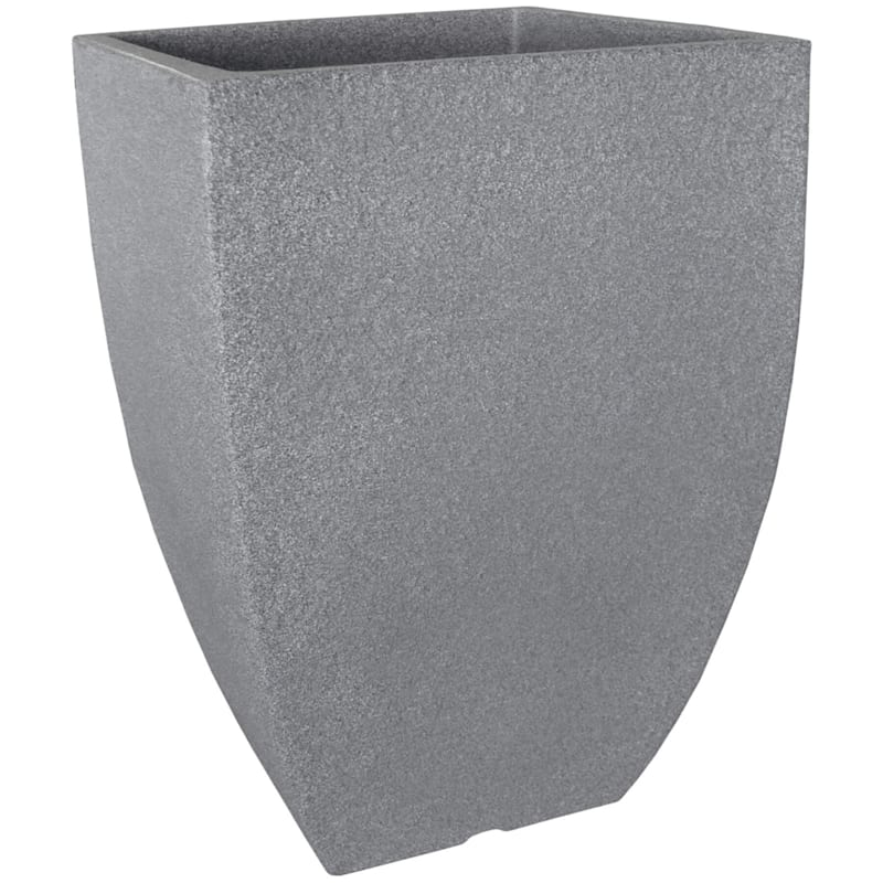 17.3X13 All Weather Proof Polyresin Modern Square Planter Charcoal