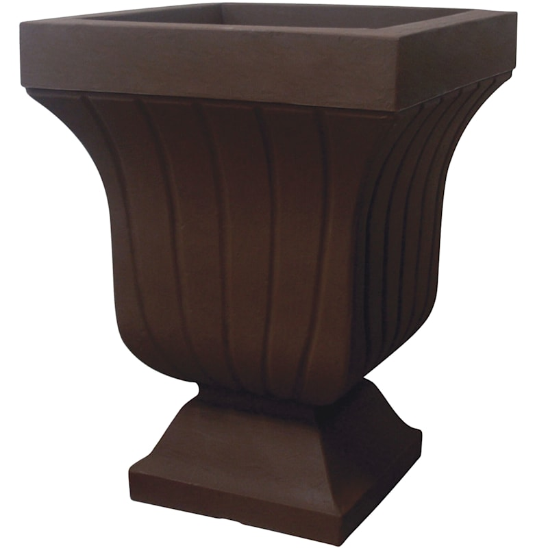 22X17 All Weather Proof Polyresin Square Fluted Urn Coffee