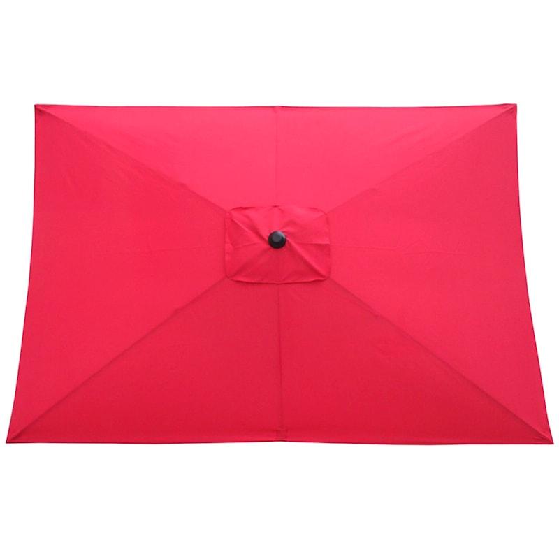 Red Rectangular Steel Outdoor Umbrella, 6.5x10