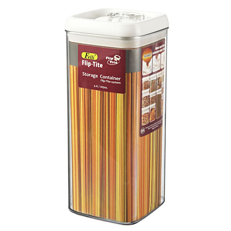 Flip Tite Large Stackable Airtight Bpa Free Acrylic Square Pasta Canister