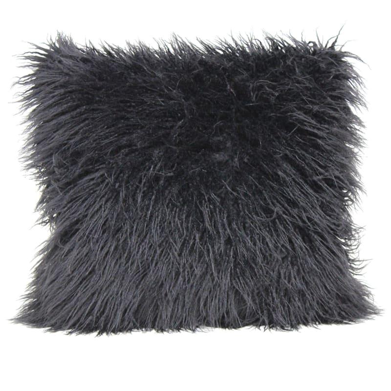 Mongolian Black Faux Fur Pillow 18X18