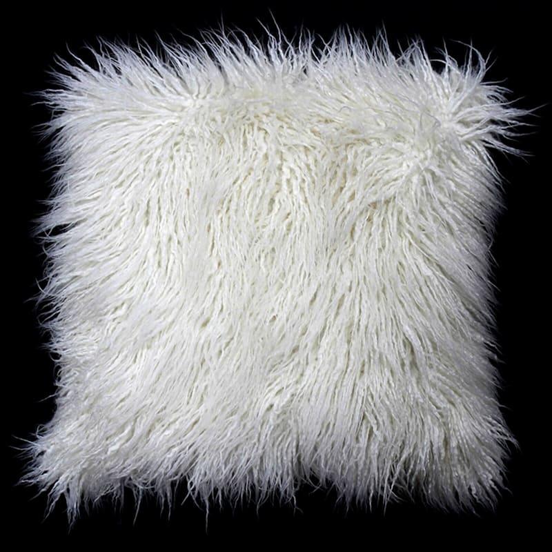 Mongolian Fur White Throw Pillow