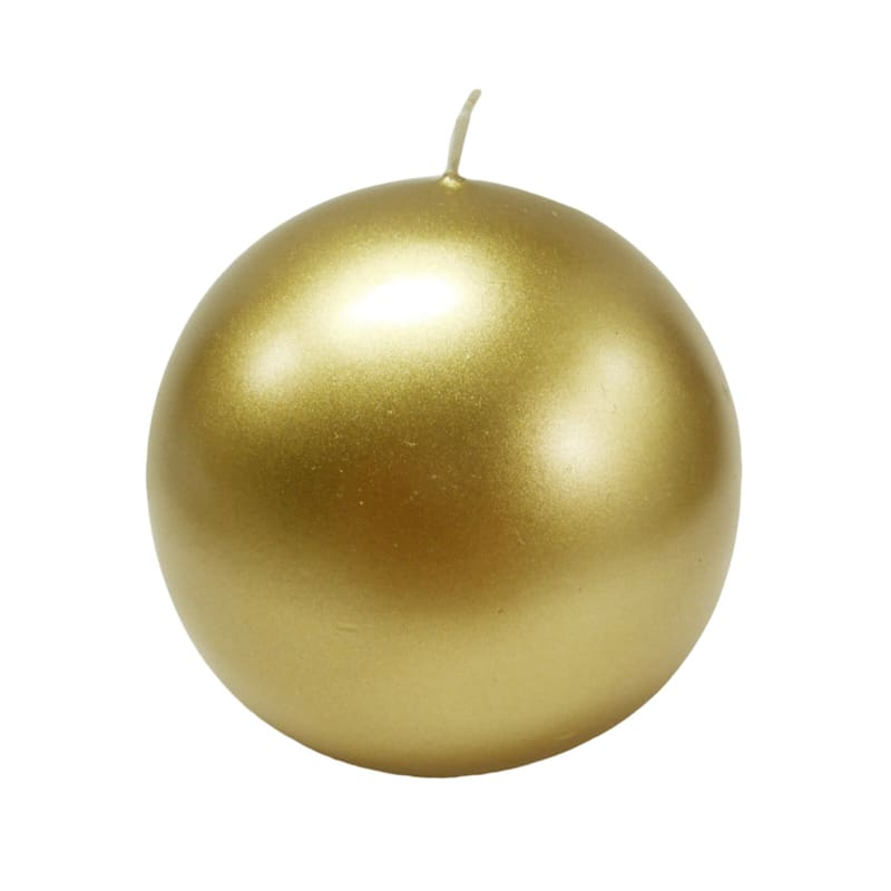4in. Sphere Candle Metallic Gold