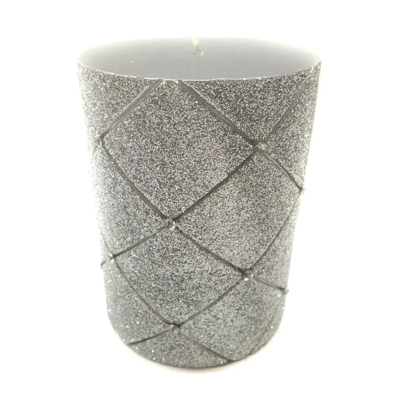 3X4 Glitter Diamond Pillar Candle Metallic Silver