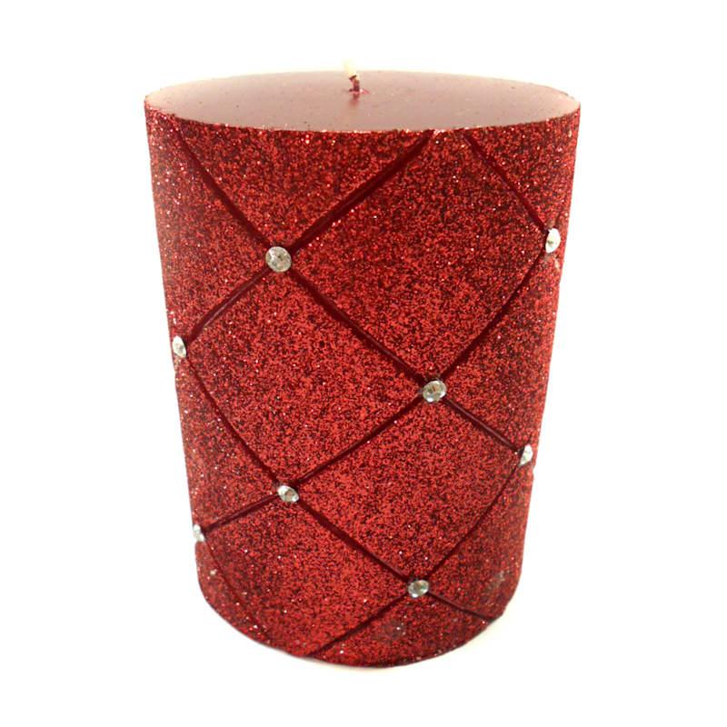 3X4 Glitter Diamond Pillar Candle Metallic Red
