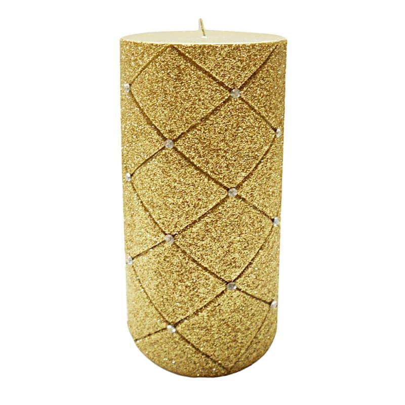 3X6 Glitter Diamond Pillar Candle Metallic Gold