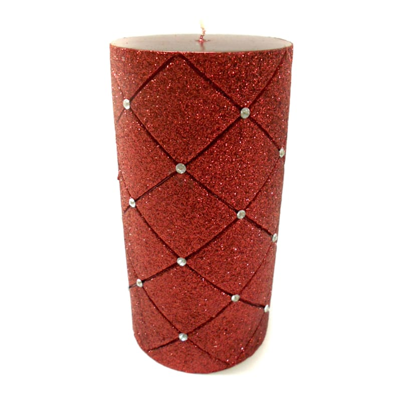 3X6 Glitter Diamond Pillar Candle Metallic Red