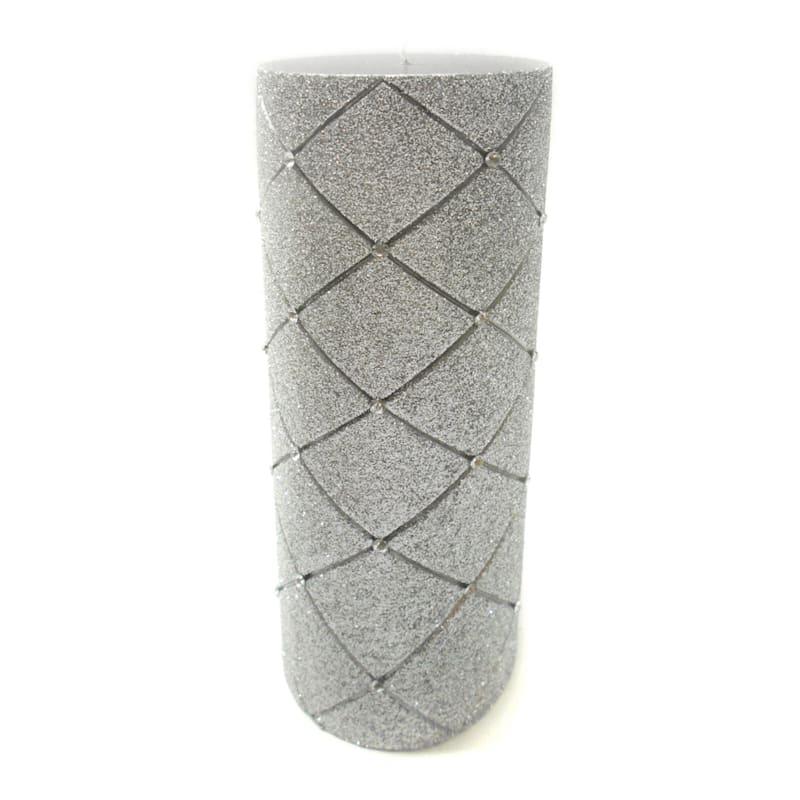 3X8 Glitter Diamond Pillar Candle Metallic Silver