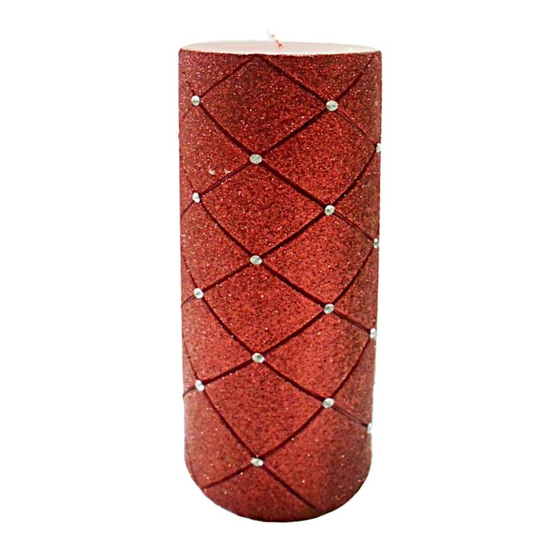 3X8 Glitter Diamond Pillar Candle Metallic Red