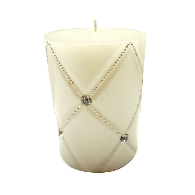 3X4 Jewel Pillar Candle Pearlized White