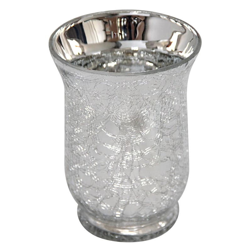 Grace Mitchell Silver Crackle Hurricane Candle Holder