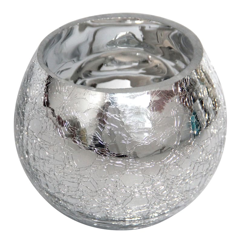 Metallic Silver Crackled Glass Round 4in.
