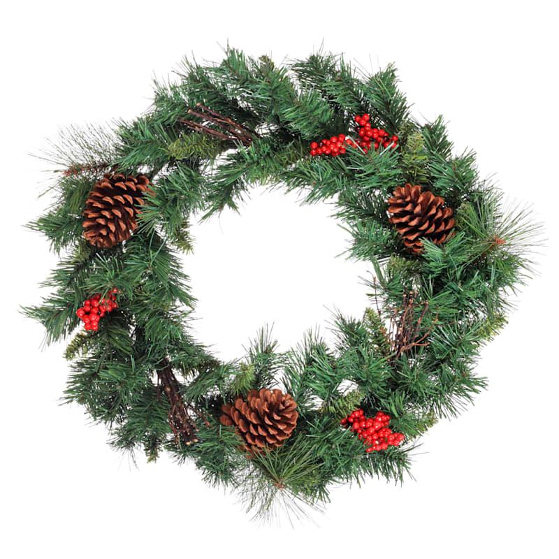 """Pinecones & Berries Wreath, 24"""""""