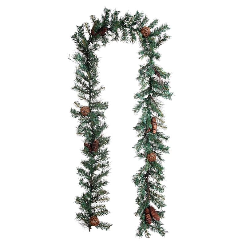 Pine Garland with Pinecones and Twig Balls, 9'